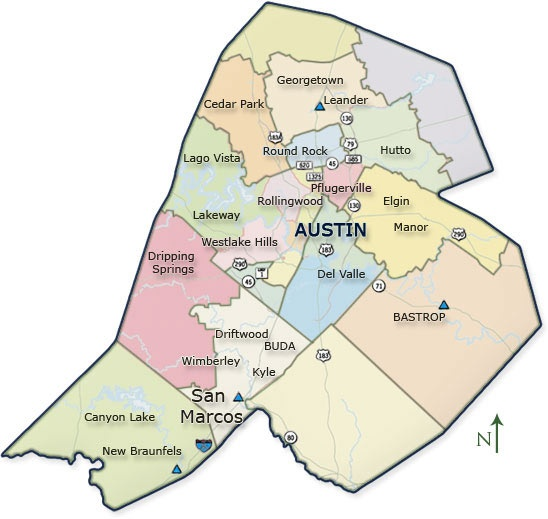 Austin Real Estate Austin Homes For Sale Kyle Homes For Sale - Austin metro area map